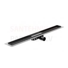 ACO ShowerDrain C 685x112x92mm dušas traps/notece/kanāls ar melnu Massive režģi vertikāls flancis