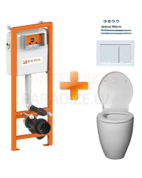 4 in 1 SET KAME OVALO SC built-in floor toilet with installation module ECO K-POL