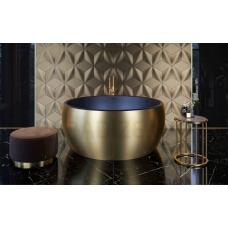 AQUATICA brīvi stāvoša vanna AURA ROUND 160x160 (Yellow Gold-Black)