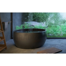 AQUATICA brīvi stāvoša vanna AURA MINI ROUND 145x145 (melna)