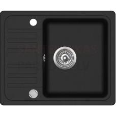 Akmens massas virtuves izlietne BARI 57.5x46 cm, melna (black granit)