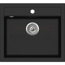 Akmens massas virtuves izlietne TORINO 51x56.5 cm, melna (black granit)