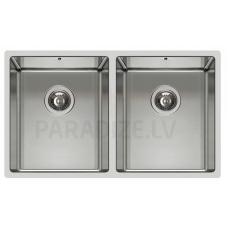 ELLECI nerūsejošā tērauda virtuves izlietne SQUARE 720 2V R14 74.5x44 cm