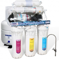E-ROOS osmozes filtrs RO-75 FLASH 6 ar mineralizatoru un dubultu jaucējkrānu un motoru