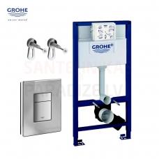 GROHE Rapid SL komplekts 3 in 1 Iebūvējamais tualetes poda (WC) rāmis + Skate Cosmo spiedpoga + rāmja sienas stiprinājumi