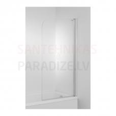 Dušas siena vannai Cubito, 750 mm, h=1400, kreisā puse, matēts sudrabs/caurspīdīgs stikls