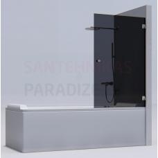 KAME vannas siena MODEL 17 90x140 pelēks stikls + hroms L/R