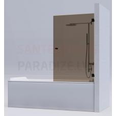 KAME vannas siena MODEL 17 90x140 brūns stikls + hroms L/R