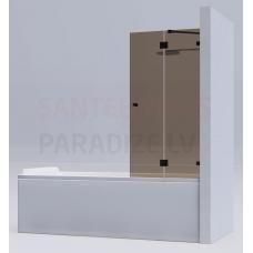 KAME vannas siena MODEL 18 140x140 brūns stikls + hroms L/R