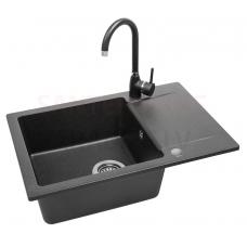 LAVEA akmens masas virtuves izlietne ar jaucējkrānu Lara 65x44 (melns)