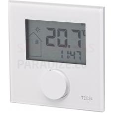 TECEfloor elektroniskais bezvadu telpas termostats ar displeju RTF-D Design balts stikla virsma