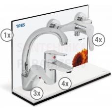 TRES BASE 3 in 1 vairuma komplekts (3x izlietnes jaucējkrāns, 4x jaucējkrāns, 4x dušas)
