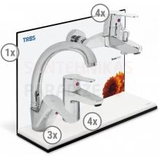 TRES BASE 3 in 1 vairuma komplekts (3x izlietnes jaucējkrāns, 4x jaucējkrāns, 4x dušas/vannas)