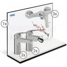 TRES BASE PLUS 3 in 1 vairuma komplekts (3x izlietnes jaucējkrāns, 2x bide, 3x dušas)