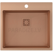Aquasanita nerūsejošā tērauda virtuves izlietne AIRA AIR100N-C Copper (PVD) finish 550x510x200