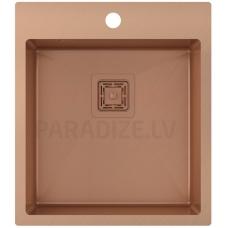 Aquasanita nerūsejošā tērauda virtuves izlietne AIRA AIR100X-C Copper (PVD) finish 510x450x200