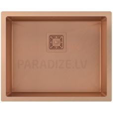 Aquasanita nerūsejošā tērauda virtuves izlietne DERA DER100L-C Copper (PVD) finish 550x450x200