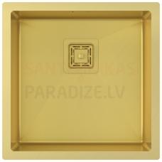 Aquasanita nerūsejošā tērauda virtuves izlietne DERA DER100X-G Gold (PVD) finish 450x450x200