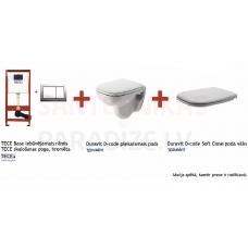 Komplekts TECE Base 4 in 1 iebūvējamais rāmis ar hromētu pogu, Duravit D-code piekaramais pods, Duravit Soft-Close vāks