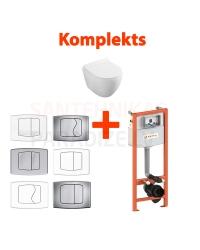 4 в 1 KKPOL Latona подвесной унитаз + туалетная рамка (WC) + кнопка смыва + SC QR крышка