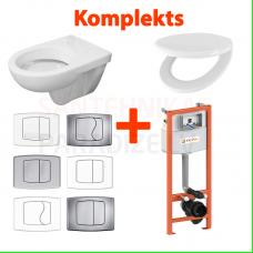 WC komplekts 4 in 1 iebūvējamais tualetes pods PORSGRUND ECO ar vāku + KKPOL rāmis ar pogu
