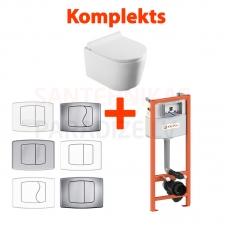 AKCIJA 4 in 1 KPOL Selene piekaramais tualetes pods + iebūvējamais tualetes poda (WC) rāmis + Skalošanas poga + SC QR vāks